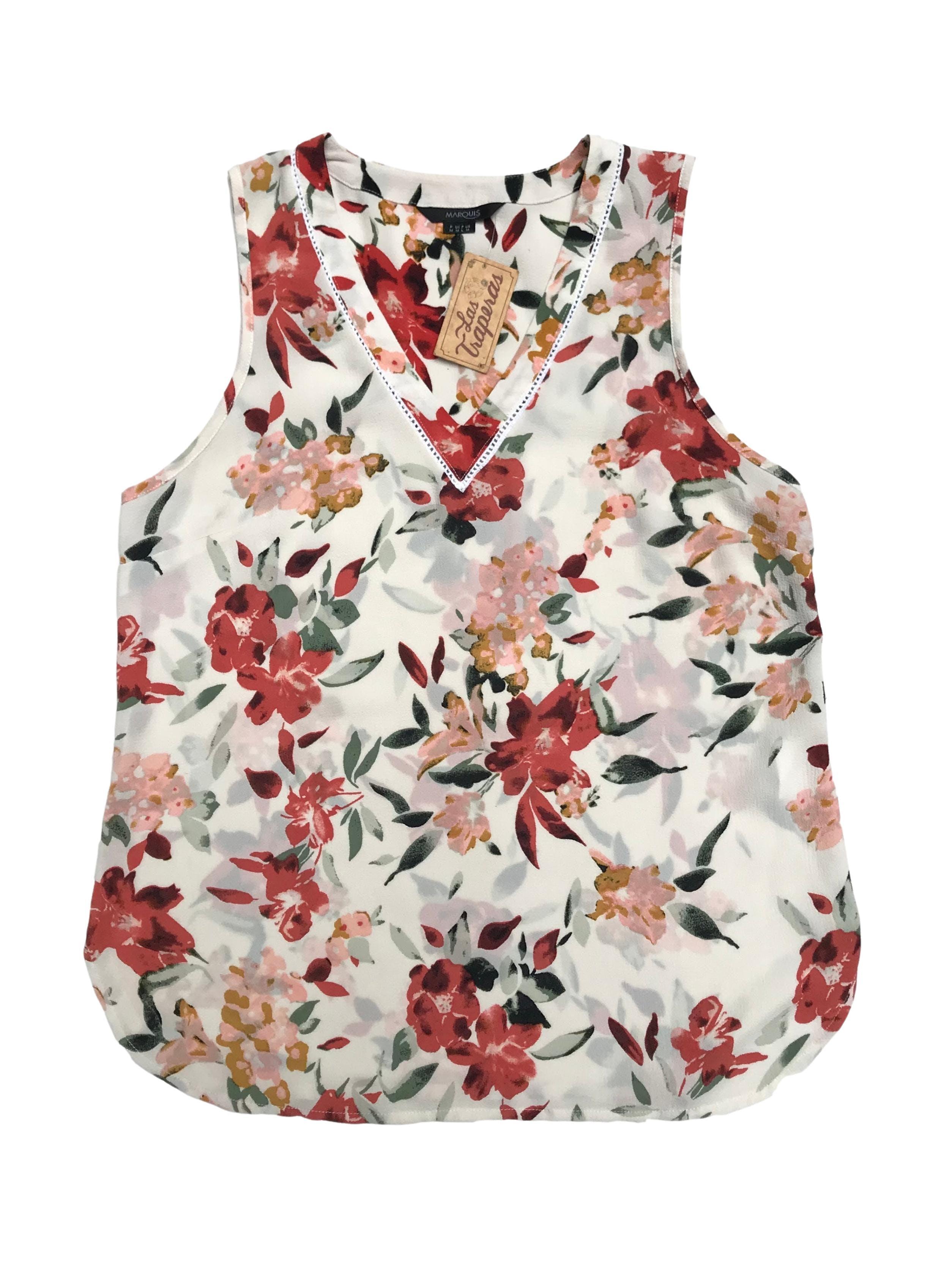 Blusa Marquis de crepé crema con estampado de flores, cuello en V