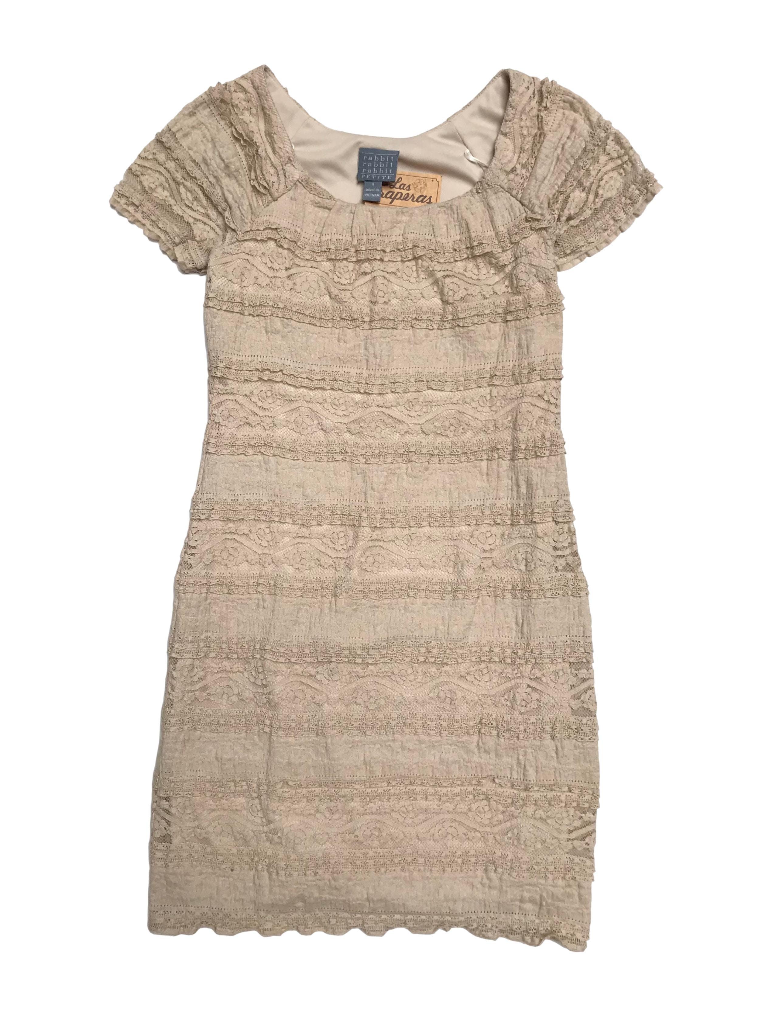 Vestido Rabbit de encaje beige suavecito con forro. Largo 88cm