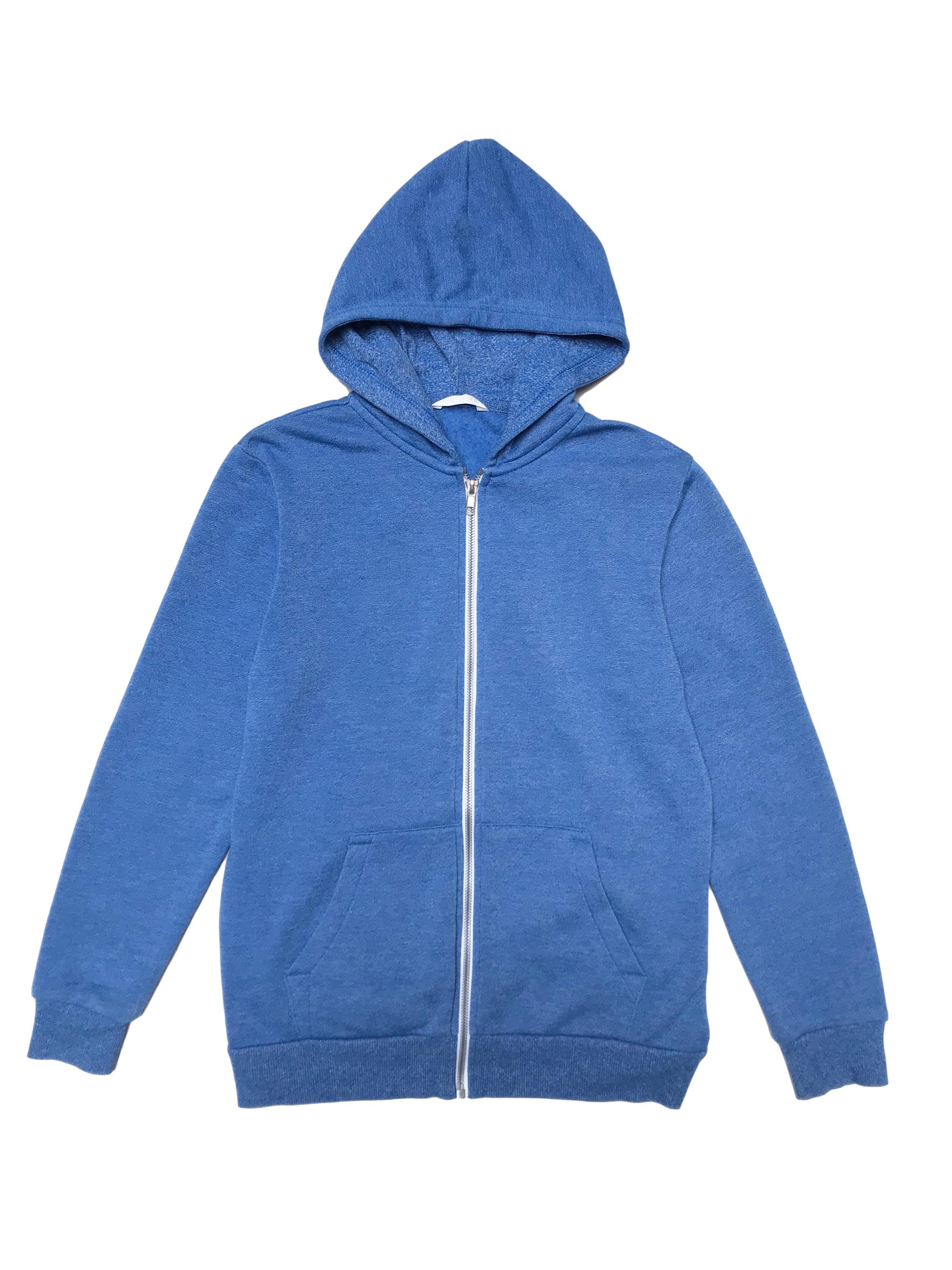 Casaca H&M de algodón con interior afranelado, capucha, cierre y bolsillos delanteros