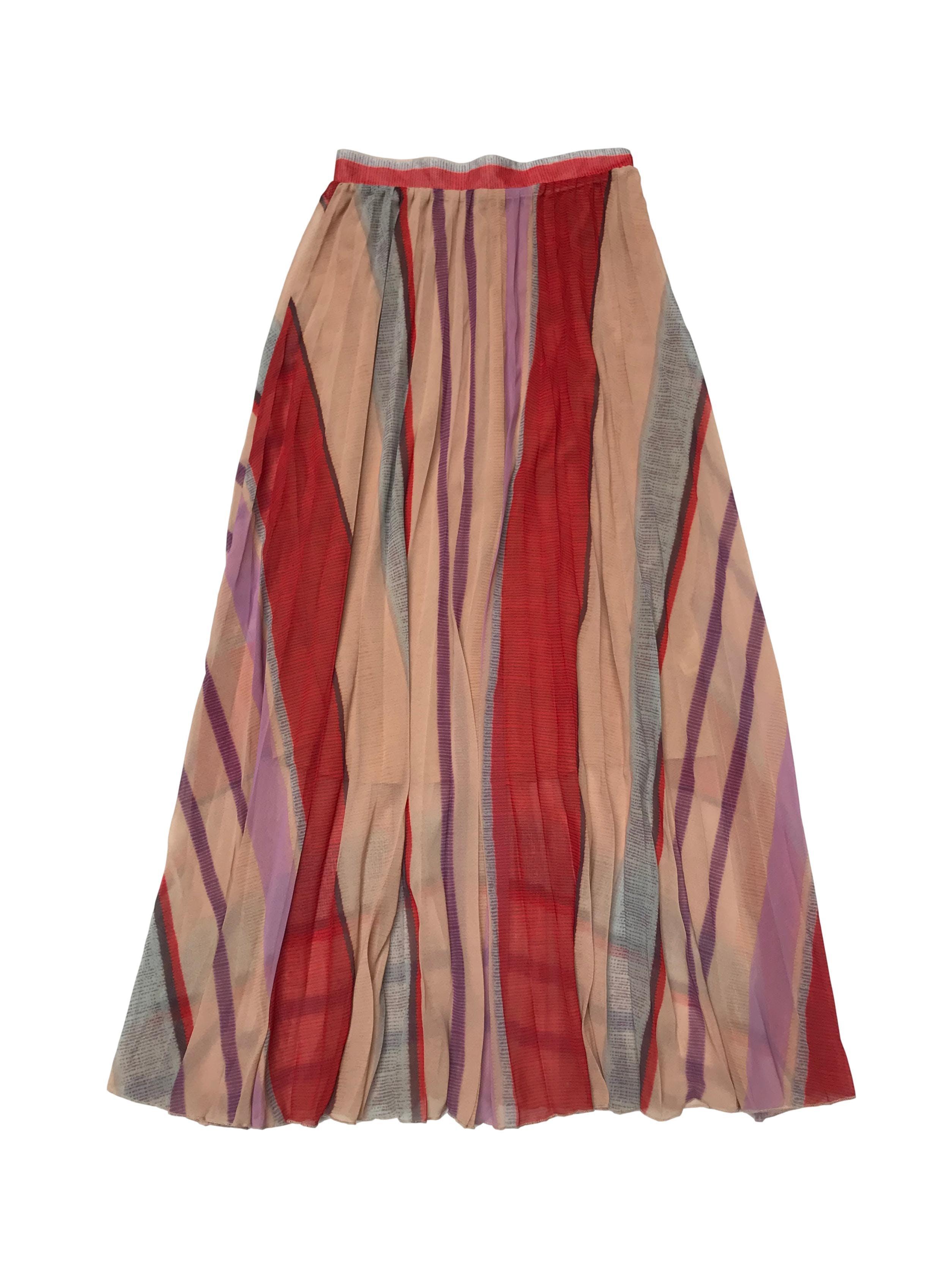 Falda H&M larga plisada, lleva forro, cierre y botón lateral. Cintura 70cm Largo 102cm