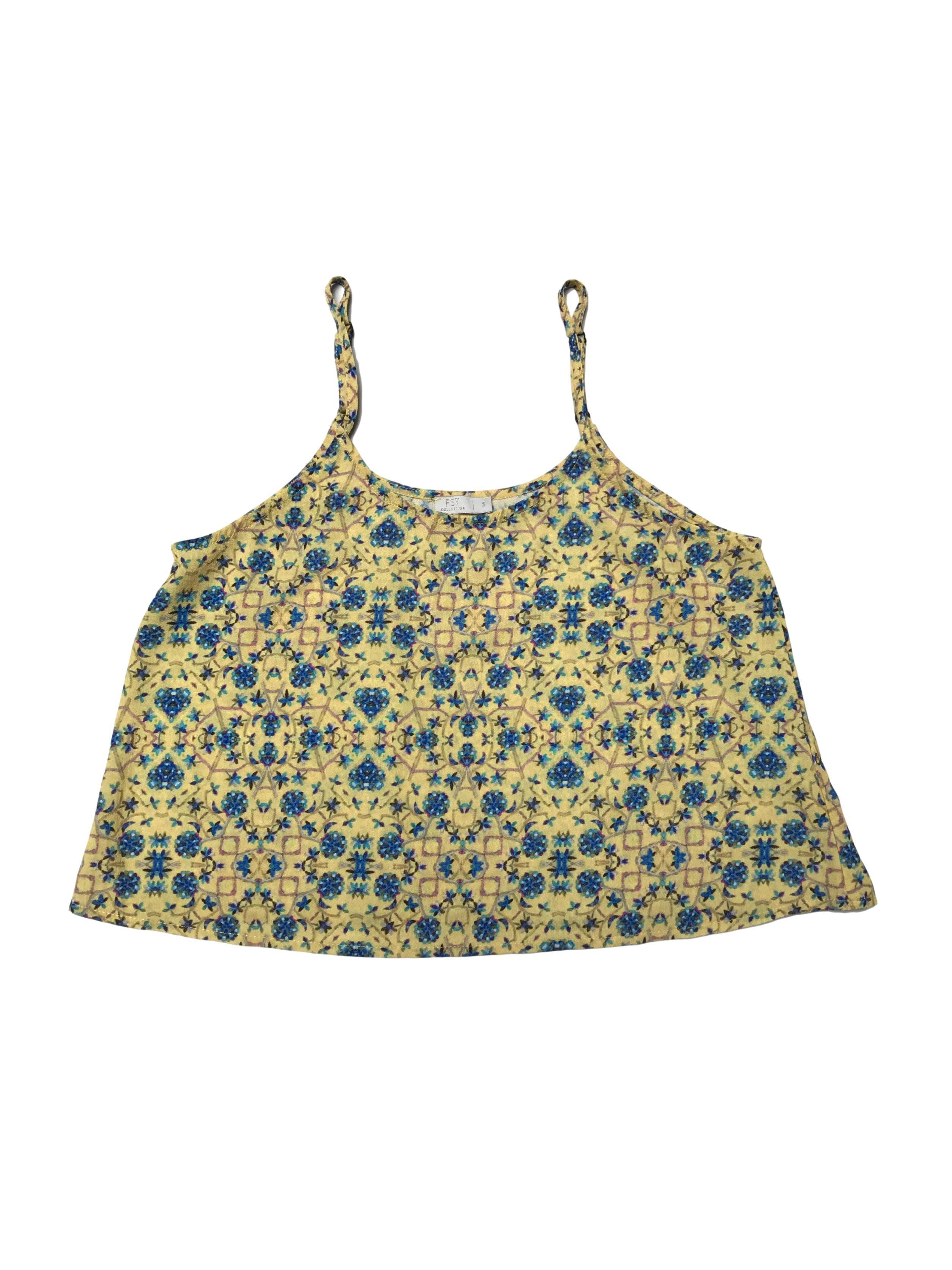Blusa crop amarilla con print azul