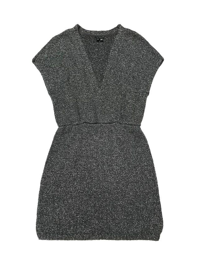 Vestido Theory tipo tejido gris con efecto plateado. foto 1