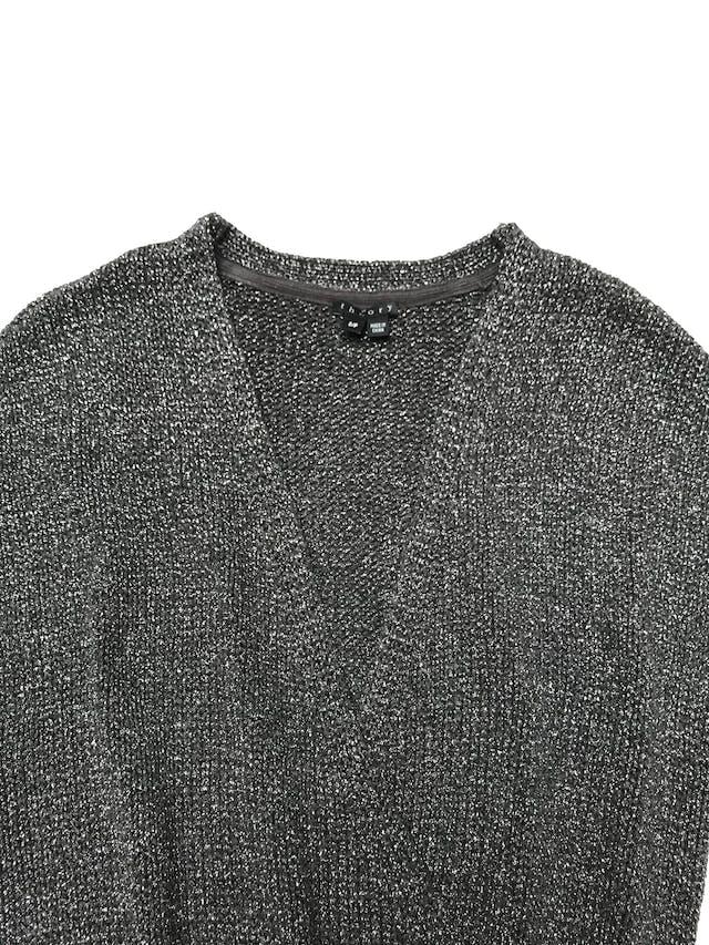 Vestido Theory tipo tejido gris con efecto plateado. foto 2
