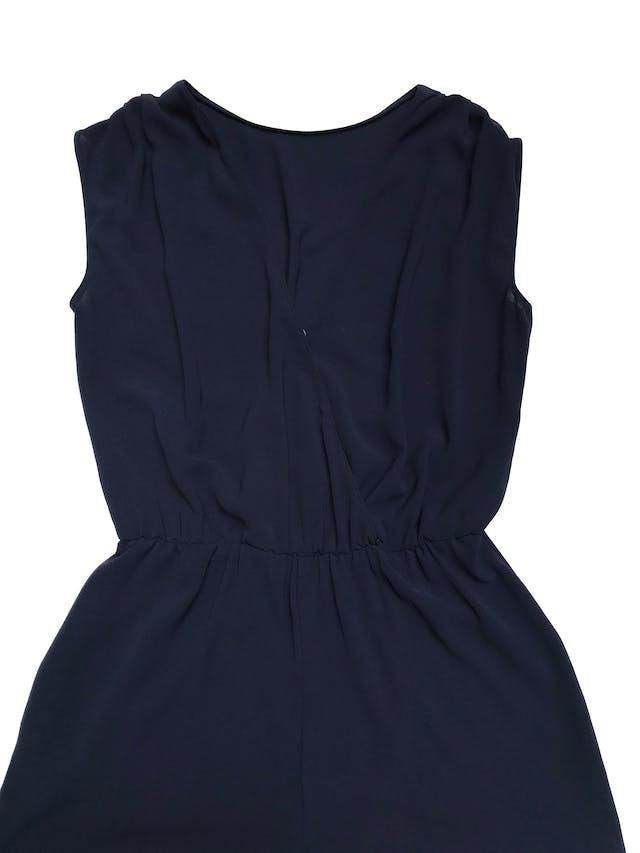 Enterizo pantalón Zara de crepé azul cruzado en la espalda y con bolsillos laterales foto 2