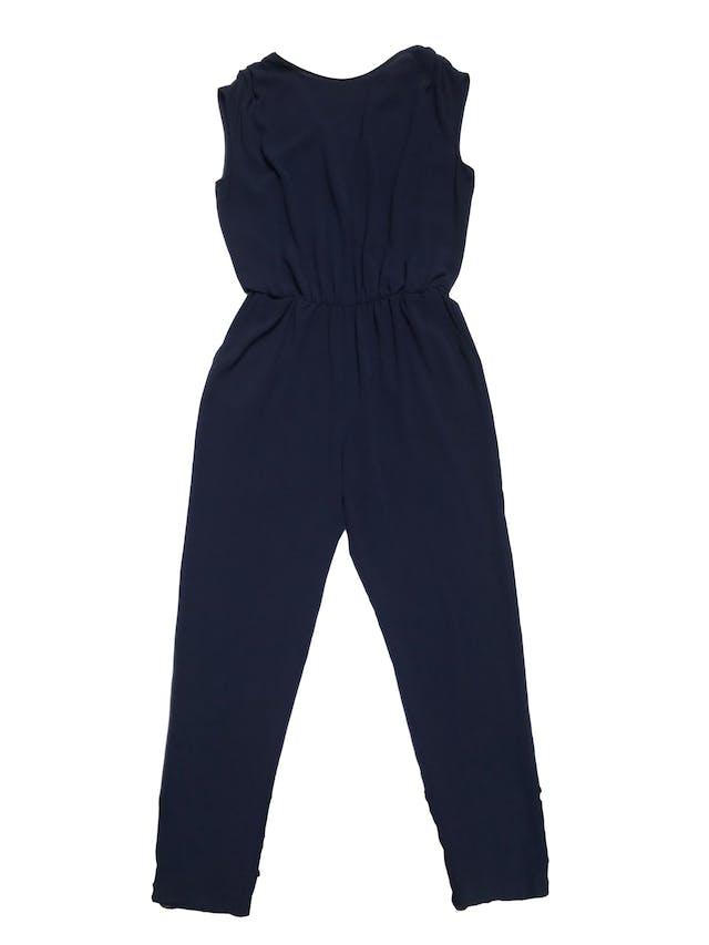 Enterizo pantalón Zara de crepé azul cruzado en la espalda y con bolsillos laterales foto 1