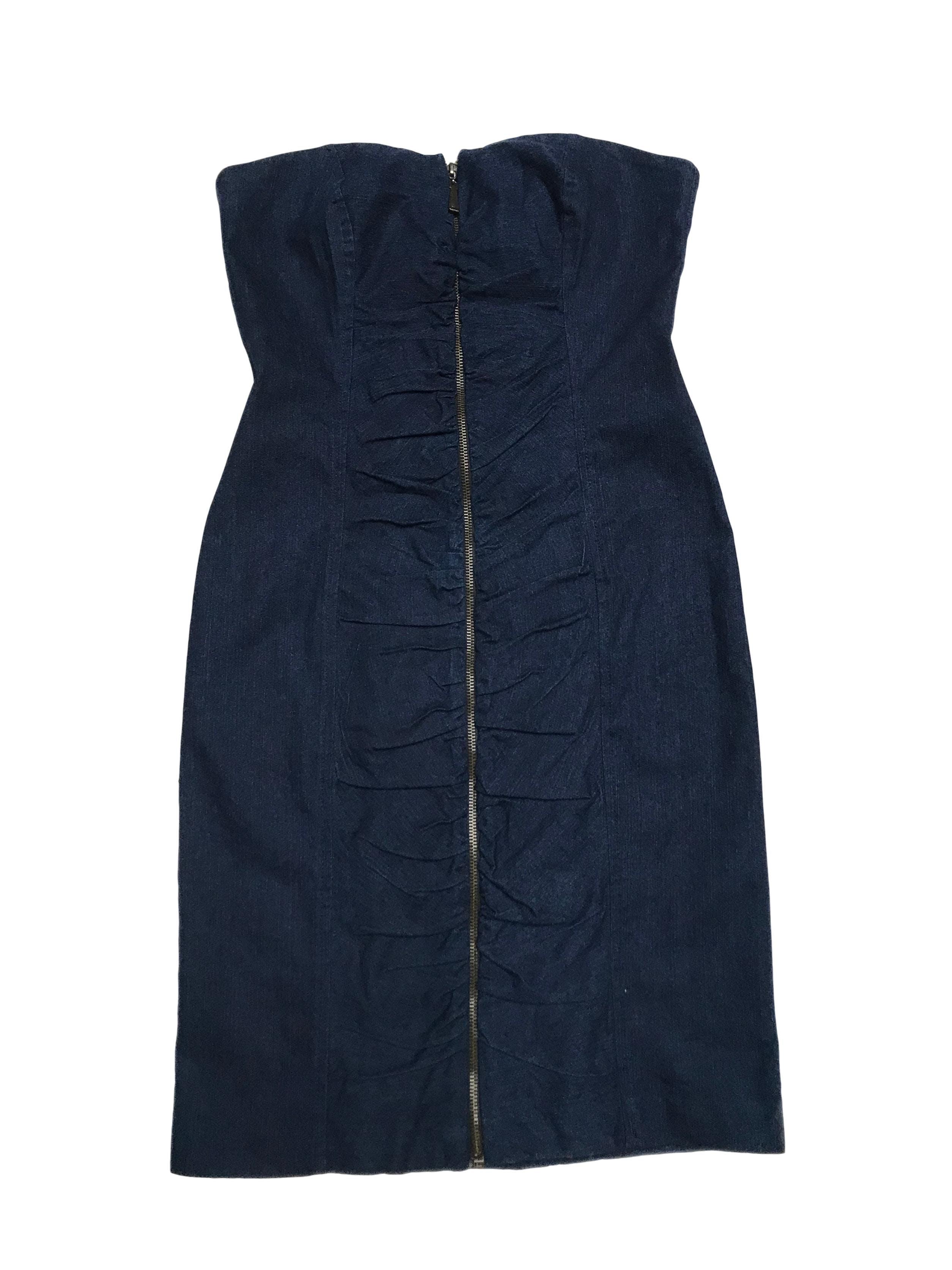 Vestido Basement straples de denim con cierre y drapeado central. Largo desde sisa 75cm
