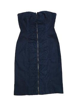 Vestido Basement straples de denim con cierre y drapeado central. Largo desde sisa 75cm foto 1