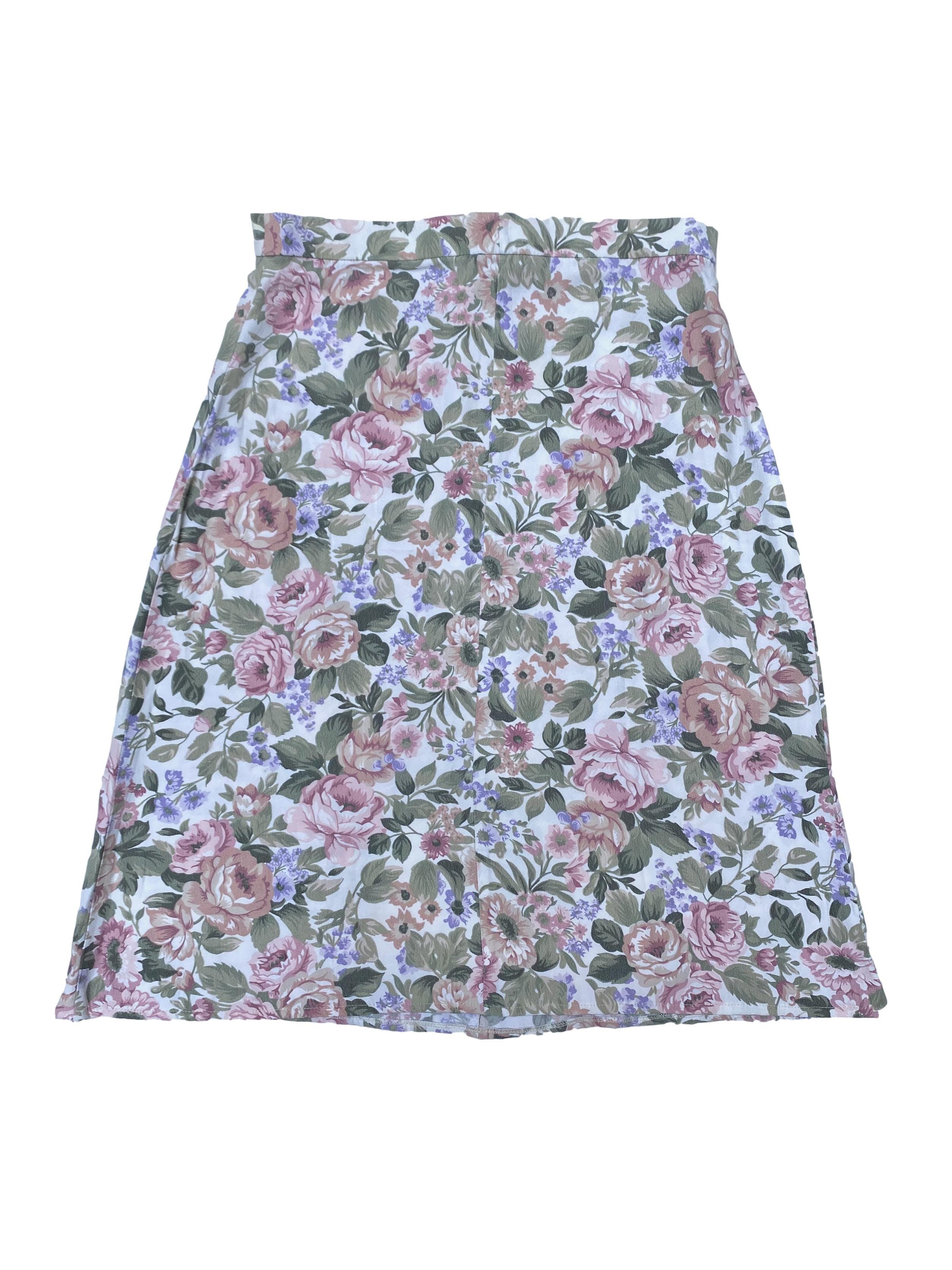 Falda vintage crema con estampado de flores, corte en A, con cierre y botón posterior. Cintura 72cm Largo 62cm