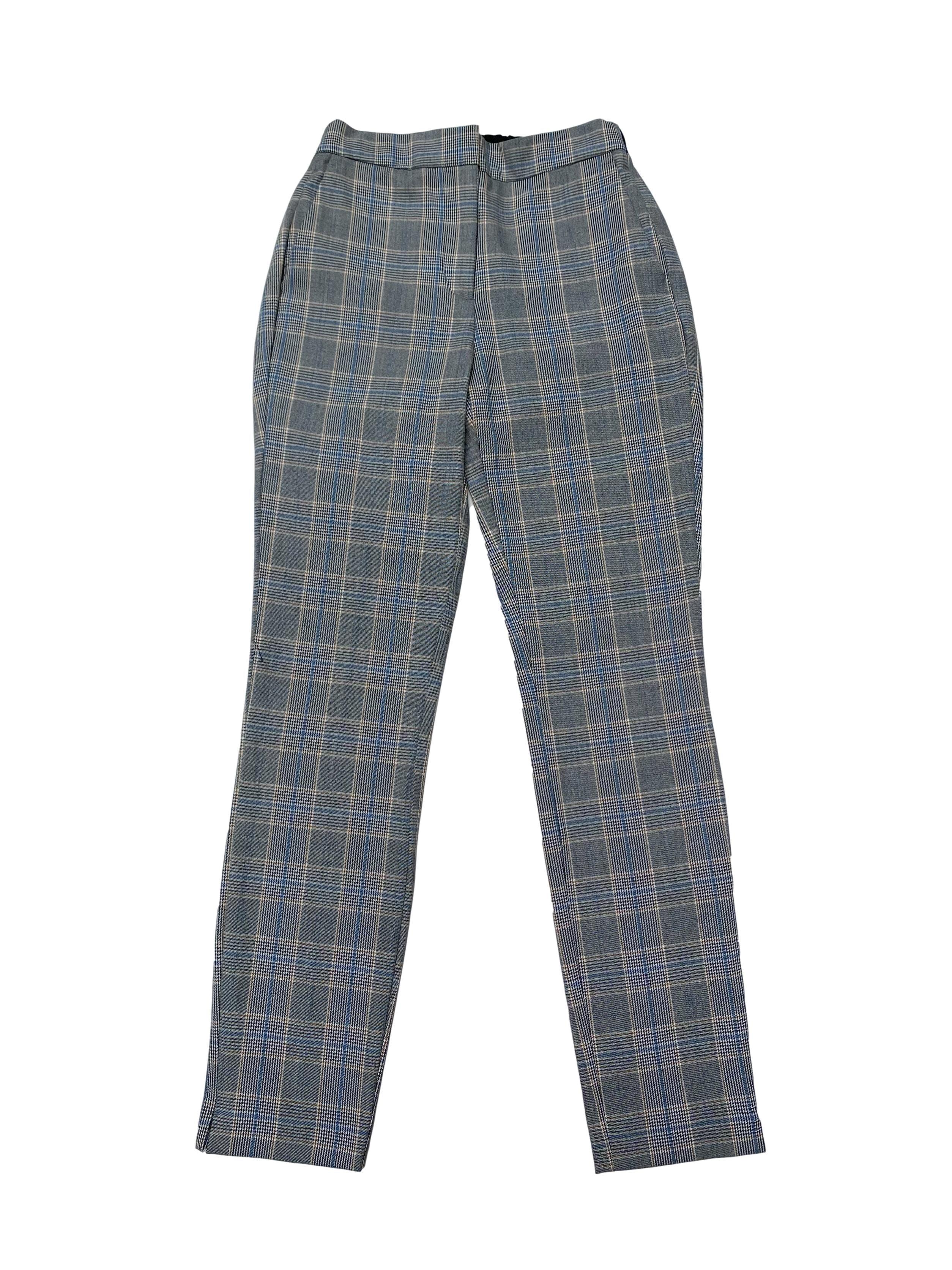 Pantalón Zara príncipe de gales con bolsillos laterales. Cintura 66cm Largo 94cm