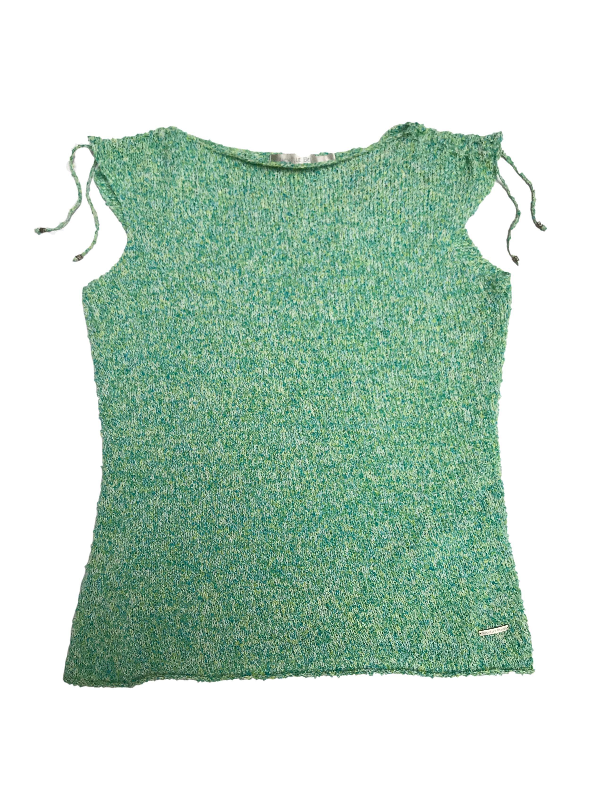 Polo tejido Michelle belau verde jaspeado con tiras para amarrar en los hombros