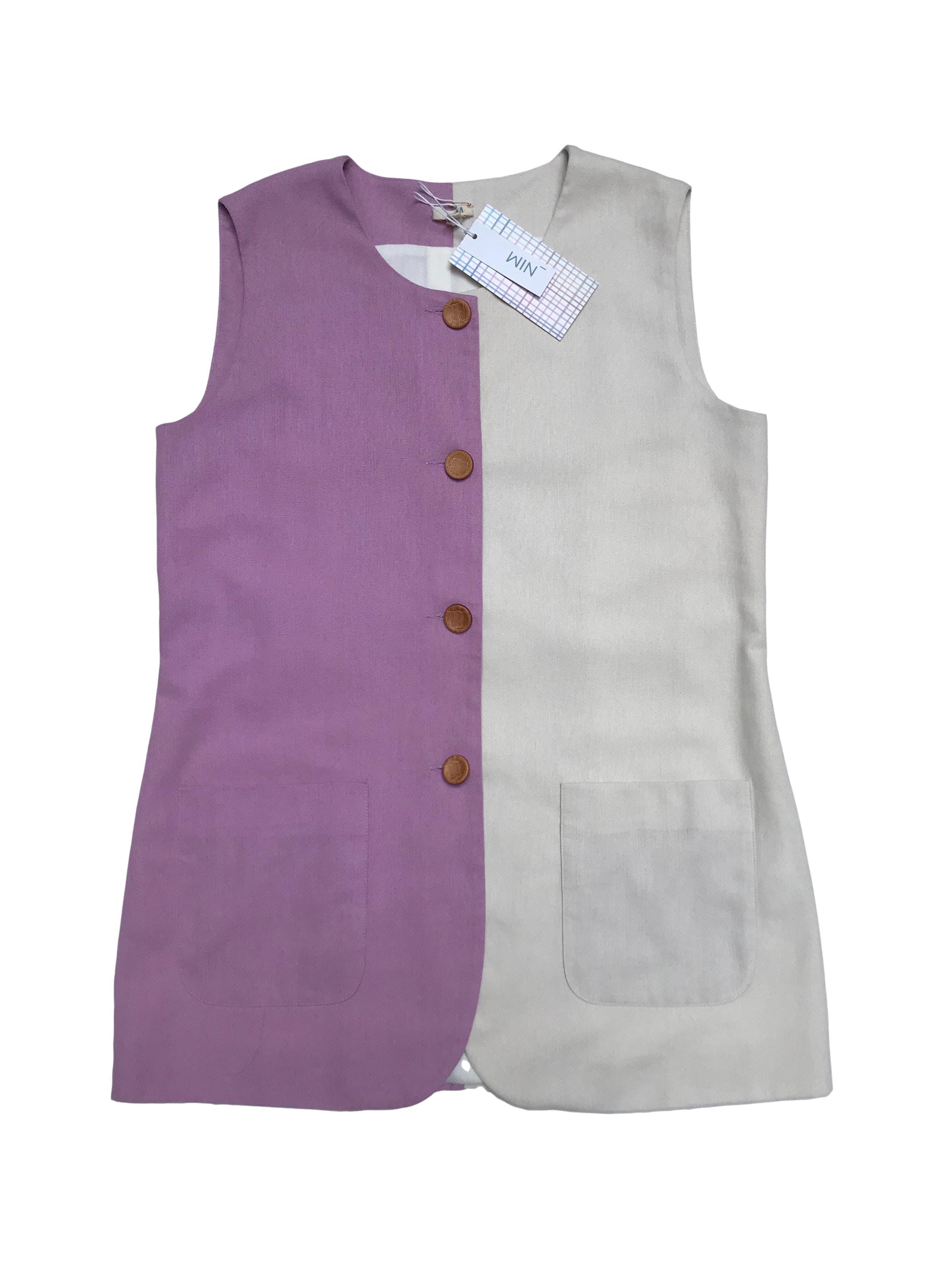 Chaleco Nim color block lila y crema, de lino y viscosa, forro super suavecito, botones y bolsillos delanteros. Largo 70cm. Nuevo con etiqueta, precio original S/250
