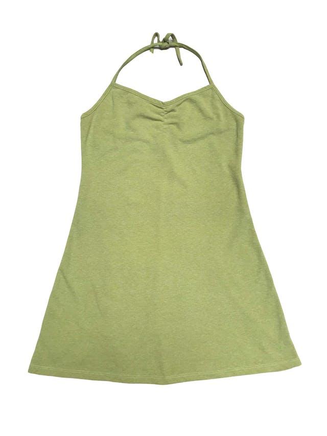 Vestido Sabz verde lima en algodón piqué, cuello halter y corte en A. Largo desde sisa 62cm foto 1