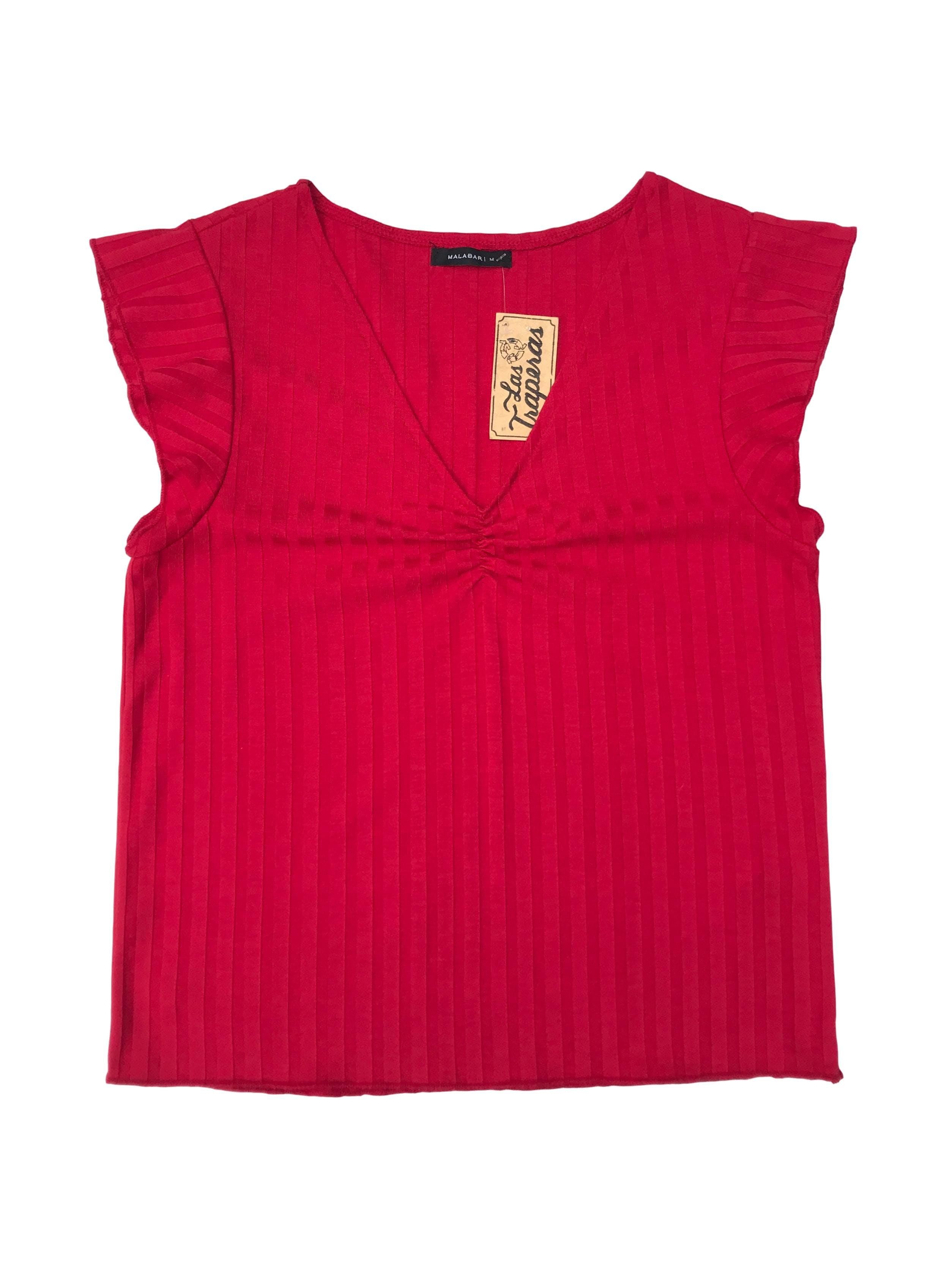 Polo Malabar rojo en franjas al tono, volante en mangas y recogido en el pecho