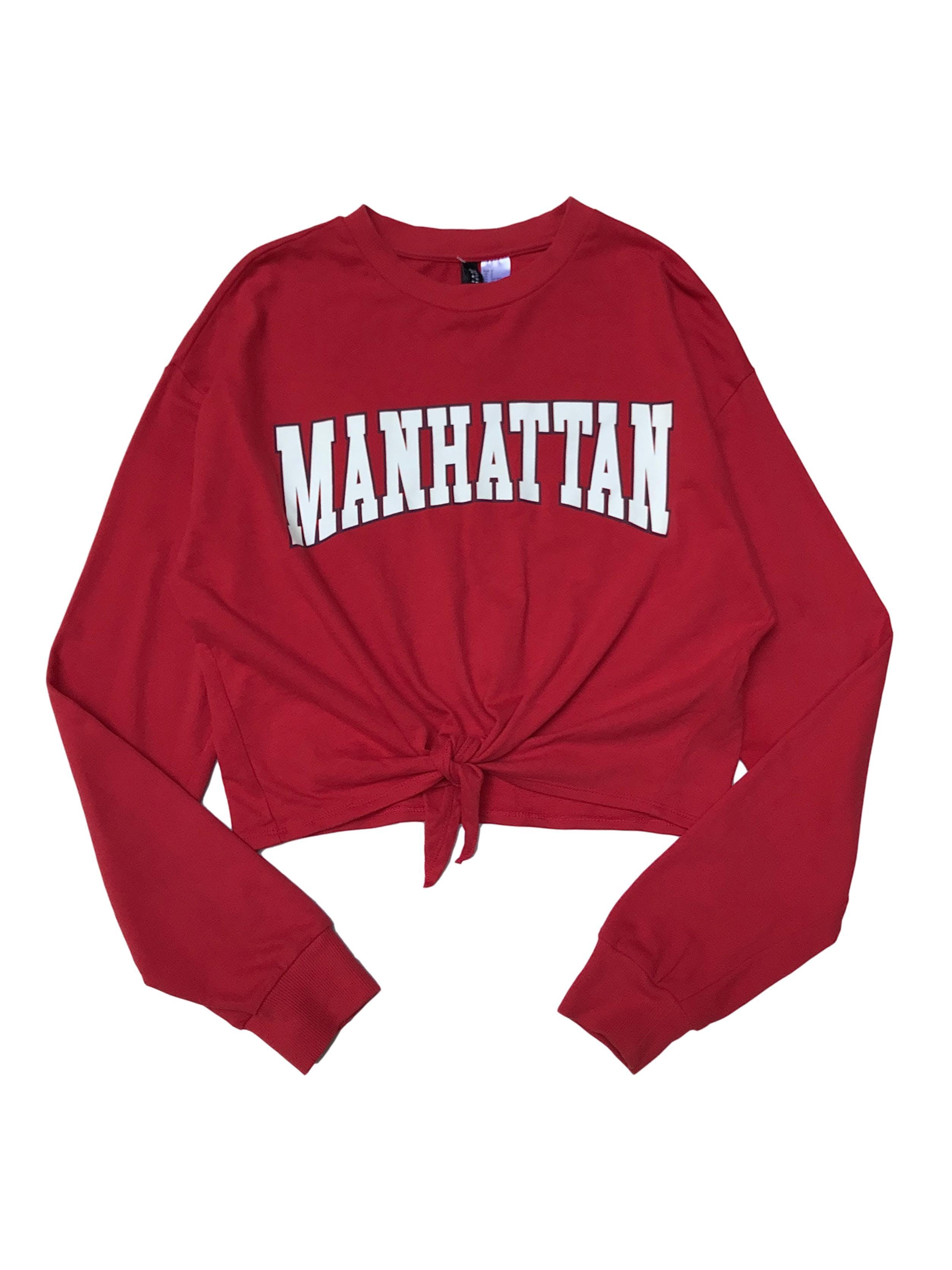 Polera H&M oversize corta, delgada de french terry (no afranelada) con print Manhattan. Largo 45cm