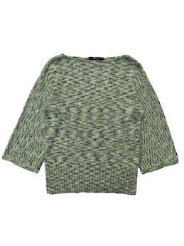 Chompa Jones wear verde jaspeado con mangas 3/4 anchas foto 1