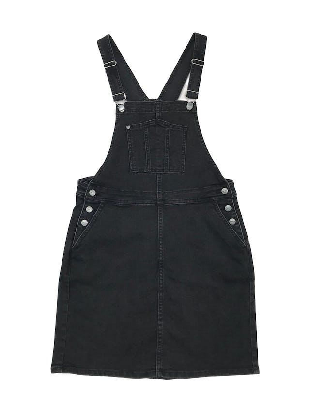 Jumper 47street denim stretch negro efecto lavado con botones y bolsillos laterales. Citnura 78cm Largo falda 45cm  foto 1