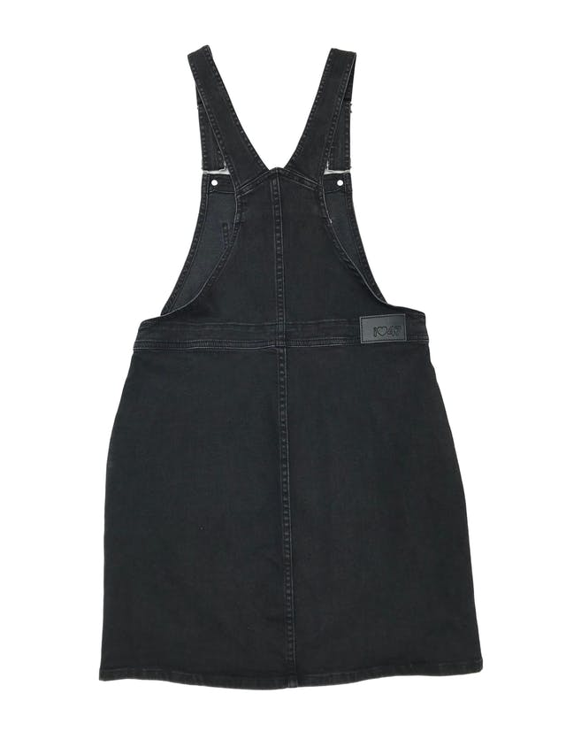 Jumper 47street denim stretch negro efecto lavado con botones y bolsillos laterales. Citnura 78cm Largo falda 45cm  foto 2