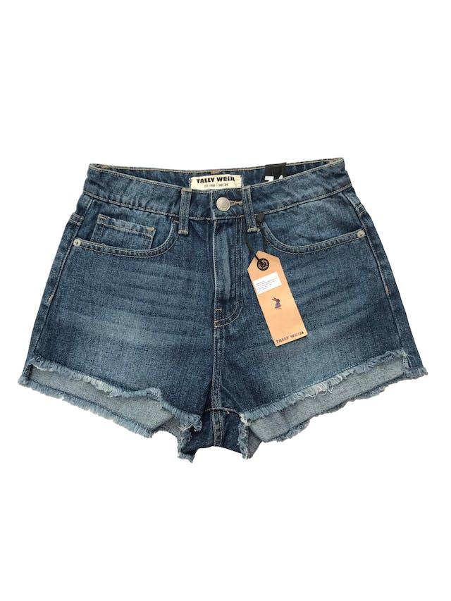 Short jean Tally Weijl a la cintura, desflecado en la basta. Cintura 62cm. Nuevo con etiqueta, precio original S/ 89.9 foto 1