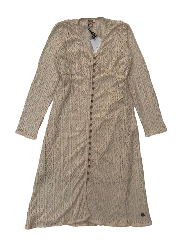 Vestido de encaje crema abotonado con forro de tiritas. Nuevo con etiqueta, precio original S/ 119.9. Medida debajo del busto 80cm Largo 100cm foto 1