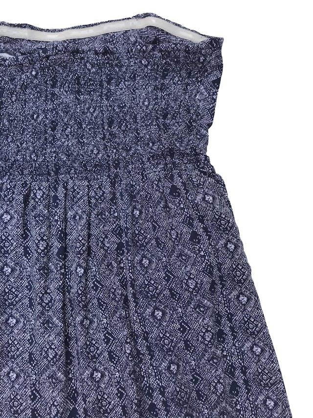Vestido Doo Australia strapless azul con print blanco, panal de abeja en la espalda y forro mini. Largo 125cm  foto 2