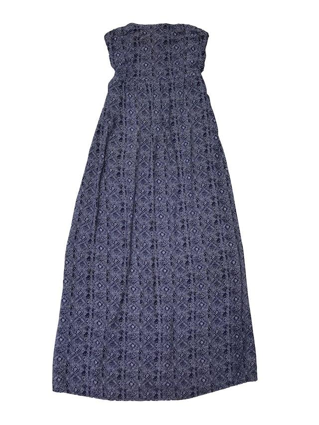 Vestido Doo Australia strapless azul con print blanco, panal de abeja en la espalda y forro mini. Largo 125cm  foto 1