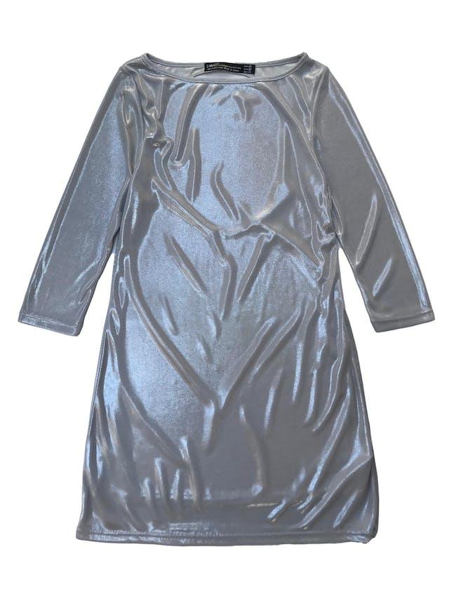 Vestido Zara plateado con escote en la espalda y forro, manga 3/4. Busto 90cm Largo 85cm foto 1