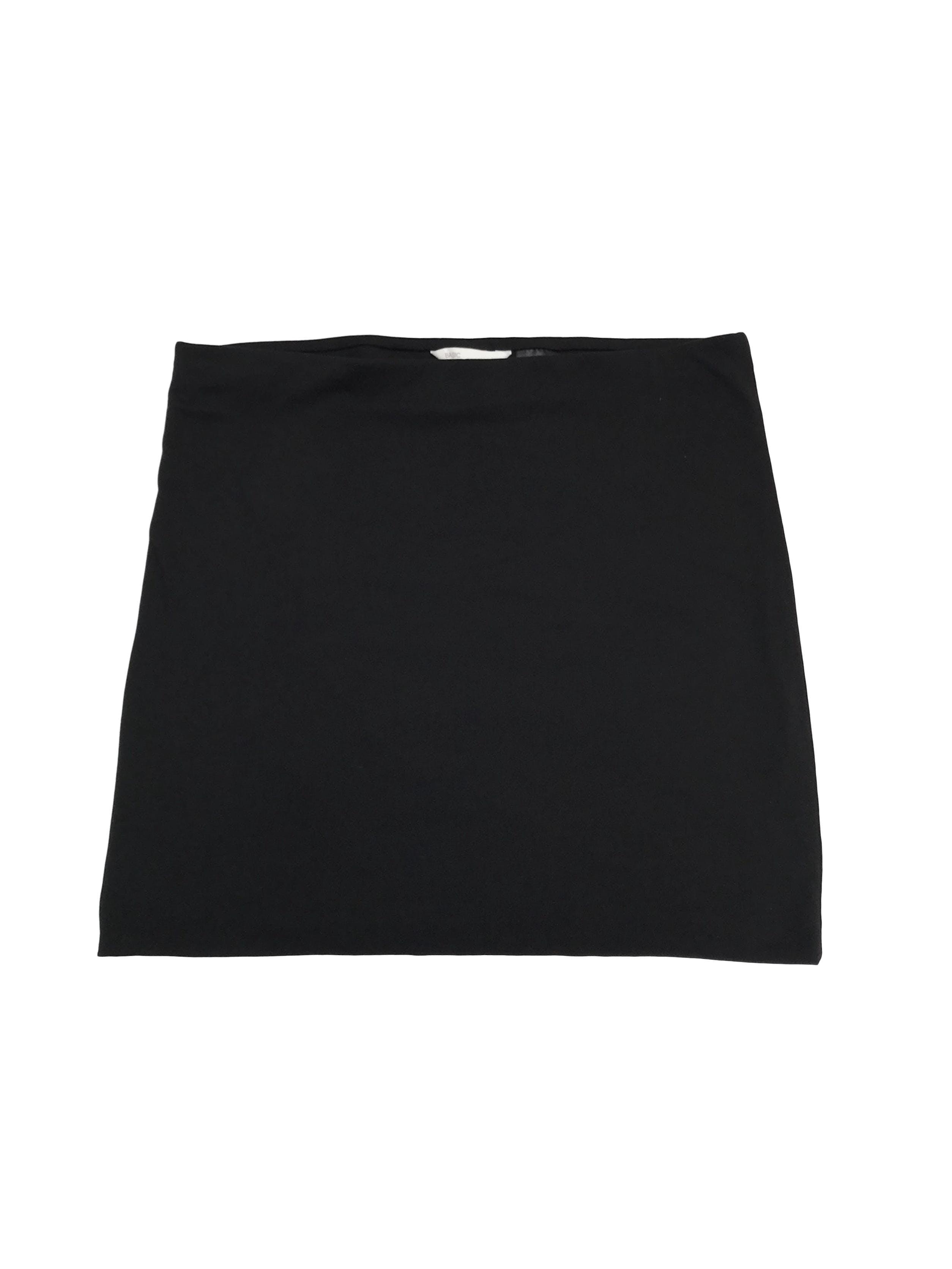 Falda H&M de algodón stretch negro, doble capa con elástico enla cintura. Largo 38cm