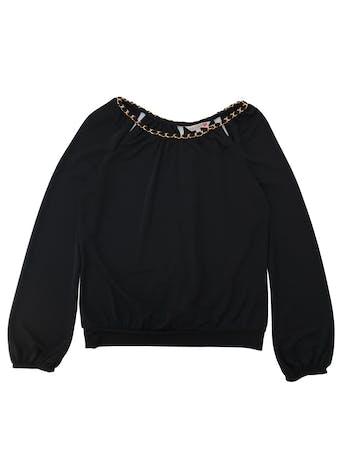 Polo ETC negro de tela stretch, cadena dorada en el cuello, espalda cruzada, pretina en la basta y elástico en los puños foto 1