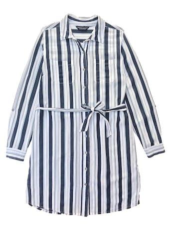 Vestido Dorothy Perkins camisero con cinto para amarrar, tela plana de viscosa y algodón. Busto 110cm Largo 88cm foto 1