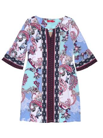 Vestido CP de tela stretch cone stampado paisley, forrado, detalle en el cuello y manga 3/4 con puño campana. Largo 95cm. Precio original S/249 foto 1