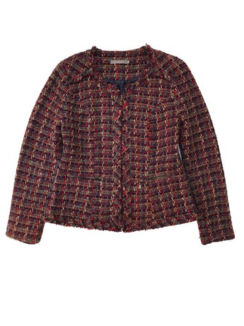 Saco Philosophy de twee en tonos cálidos 70% lana, forrado, con cierre a lo largo y en bolsillos. Busto 104cm Largo 58cm. Tiene falda conjunto foto 1