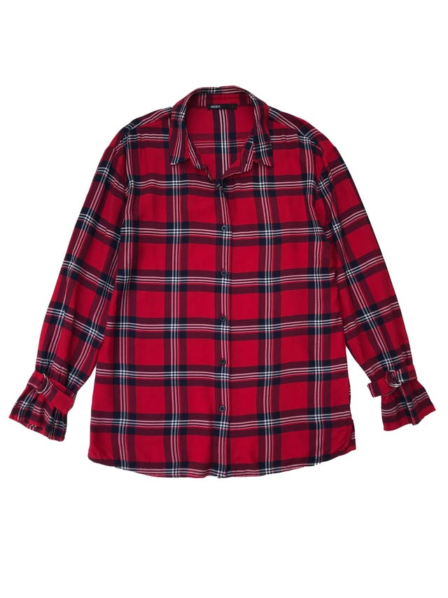 Blusa larga Index, roja a cuadros con hebillas en los puños. Largo 65cm. Nueva. foto 1
