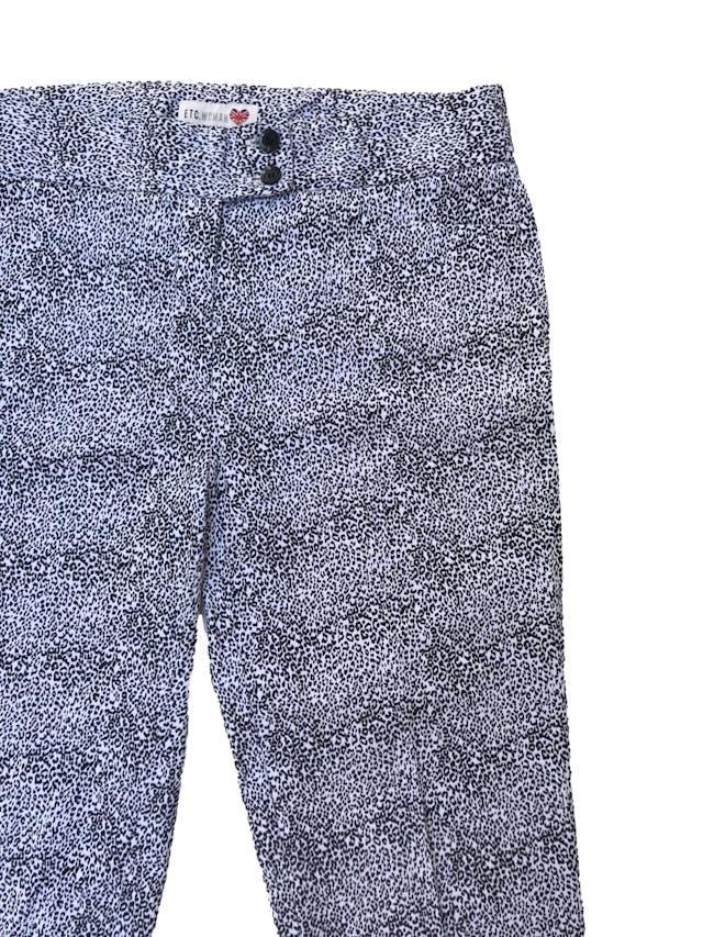 Pantalón ETC 97% algodón animal print blanco y negro. Pretina 82cm foto 2