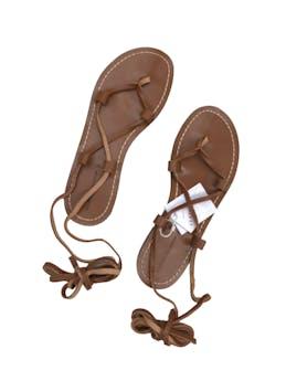 Sandalias Pull&bear gladiadoras de cuero caramel. Nuevas con etiqueta,vienen con funda, precio original S/129 foto 1
