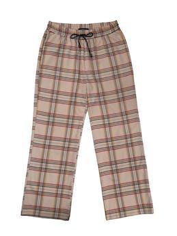 Pantalón Marquis beige a cuadros, corte recto, pretina elástica con pasador y bolsillos laterales. Cintura 76cm sin estirar foto 1
