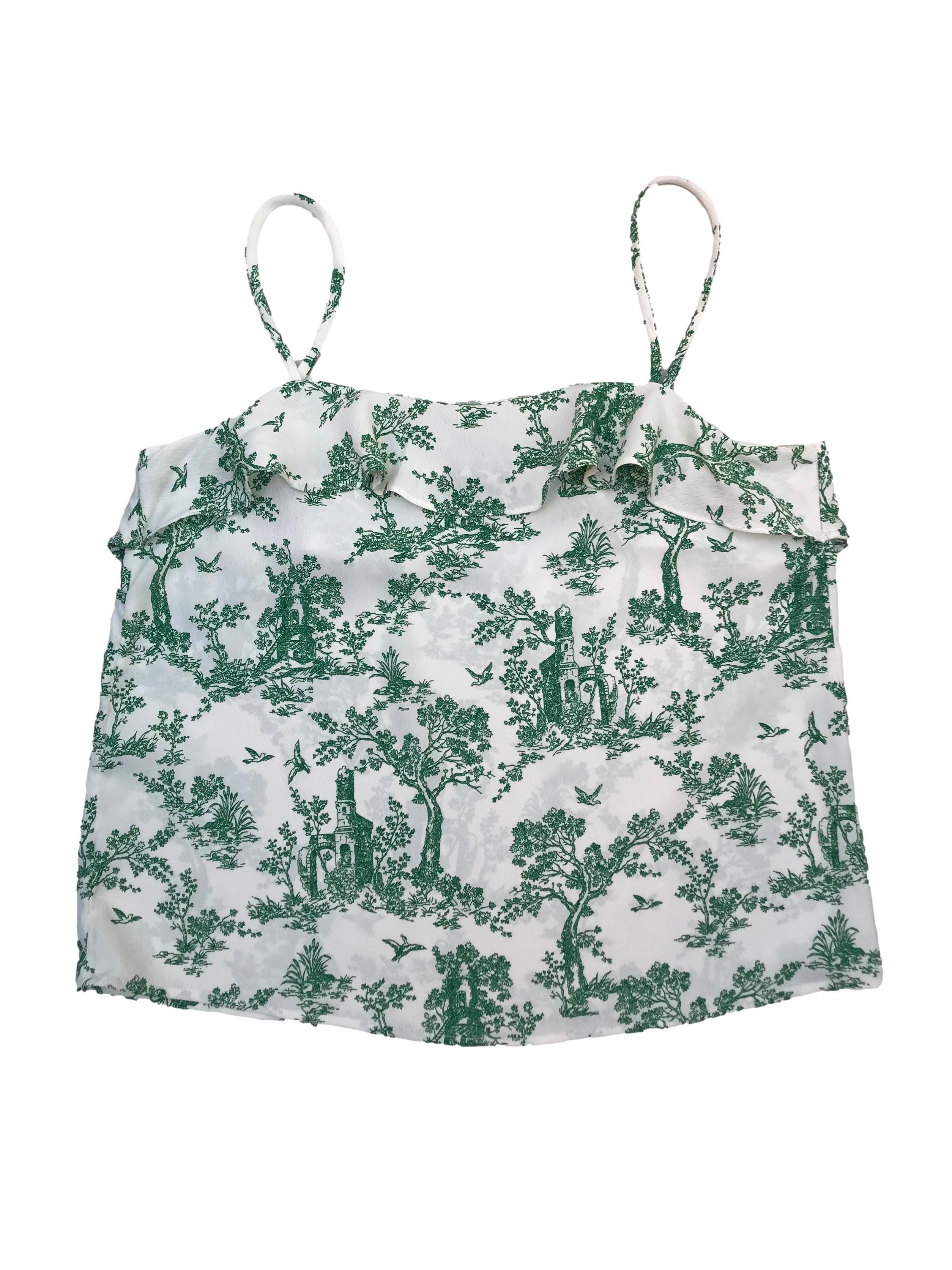 Blusa H&M con volante superior, tela plana blanca con print verde. Busto 90cm Largo desde sisa 34cm