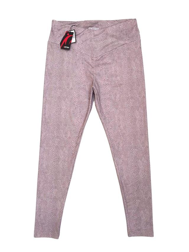 Legging deportiva a la cintura, stretch con estampado de reptil palo rosa. Nueva con etiqueta. foto 1