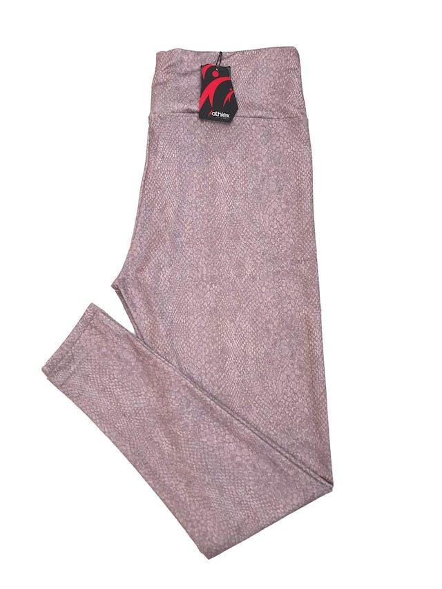 Legging deportiva a la cintura, stretch con estampado de reptil palo rosa. Nueva con etiqueta. foto 2