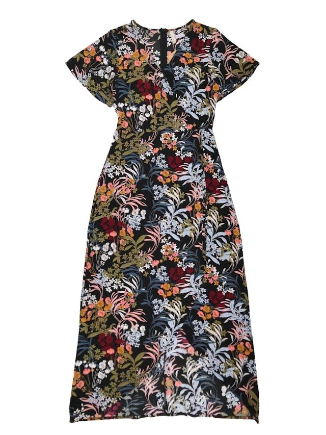 Vestido largo Sybilla efecto cruzado con cierre en la espalda, tela plana fresca. Busto 88cm Cintura 70cm Largo 130cm foto 1