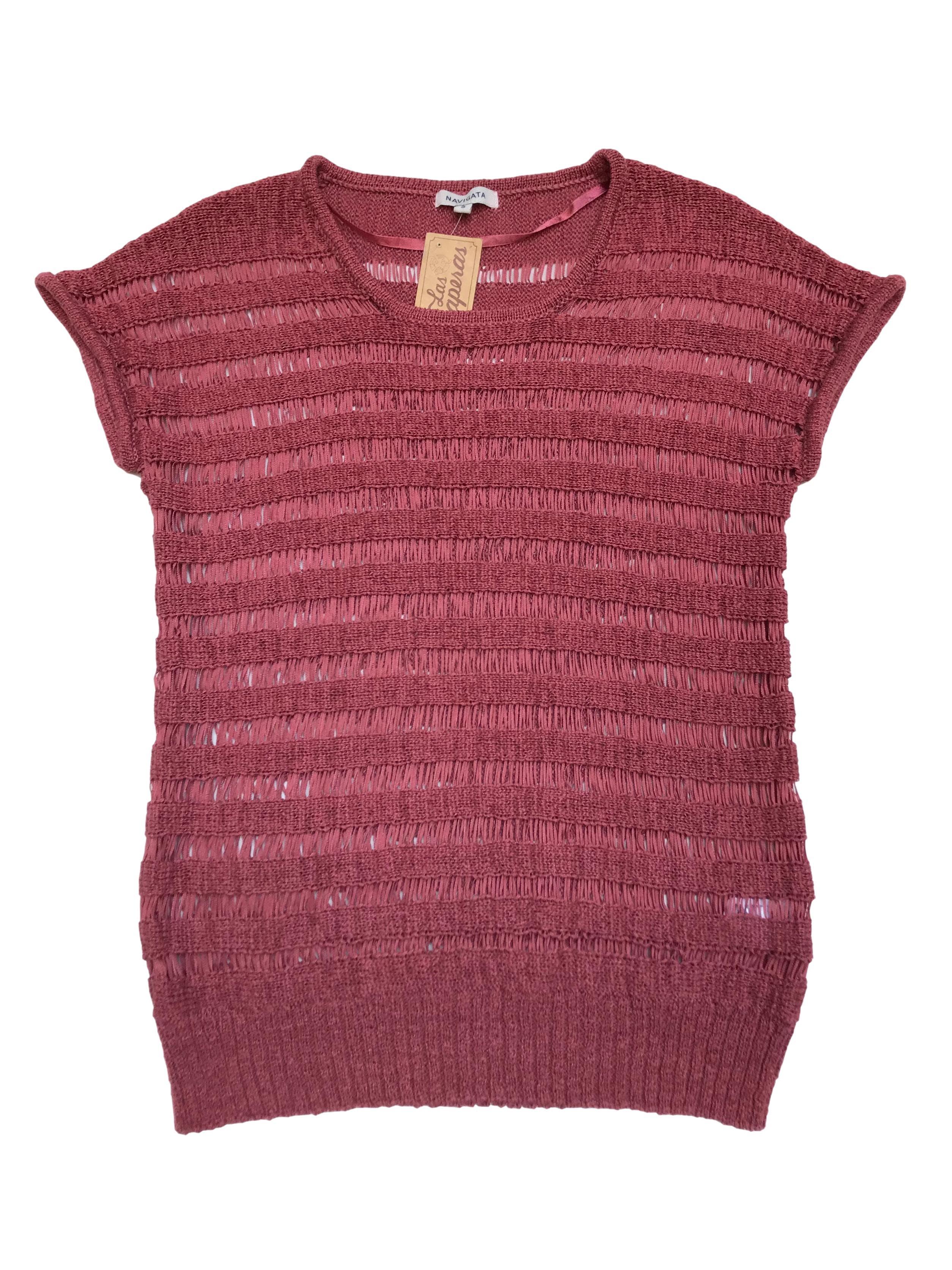 Sweater Navigata tejido en dos puntos con franjas caladas
