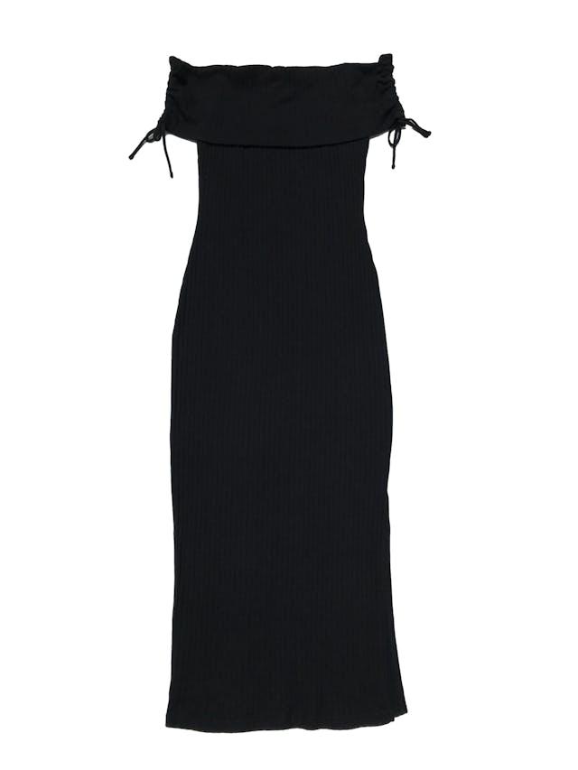 Vestido Topshop acanalado,100% algodón, off shoulder recogido a los lados, abertura lateral en la pierna. Largo 110cm foto 1