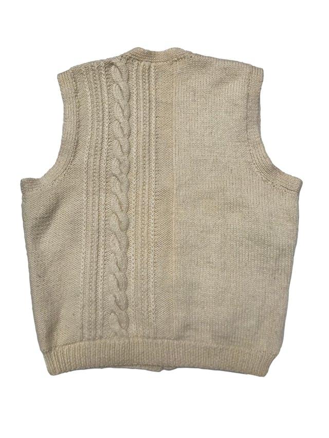 Chaleco vintage crema de tejido grueso con textura trenzada, tejido a mano. ¡En tendencia! Largo 60cm foto 2