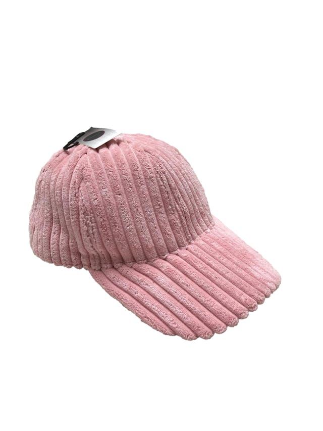 Gorra palo rosa de tela acanalada acolchada. Velcro posterior para regular el tamaño. Nueva con etiqueta. foto 2
