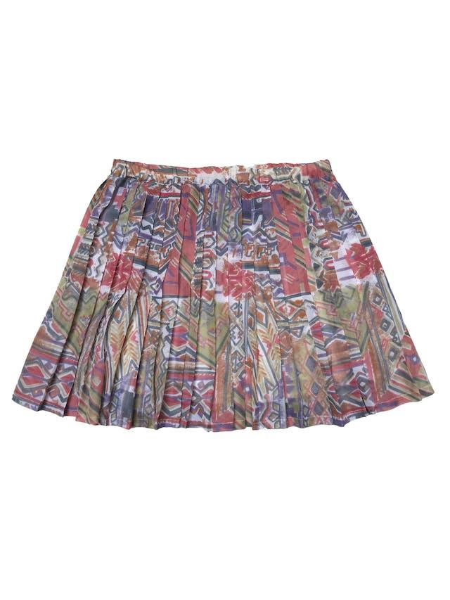 Falda vintage de gasa plisada con estampado geométrico, lleva forro y pretina elástica. Pretina 78cm si estirar Largo 45 cm foto 2