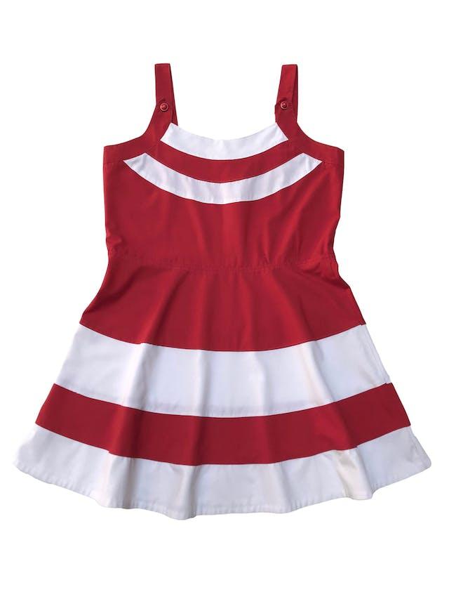 Vestido vintage rojo de tirantes con franjas blancas, corte a la cintura y falda con vuelo. Busto 100cm Cintura 90cm Largo desde sisa 70cm foto 2