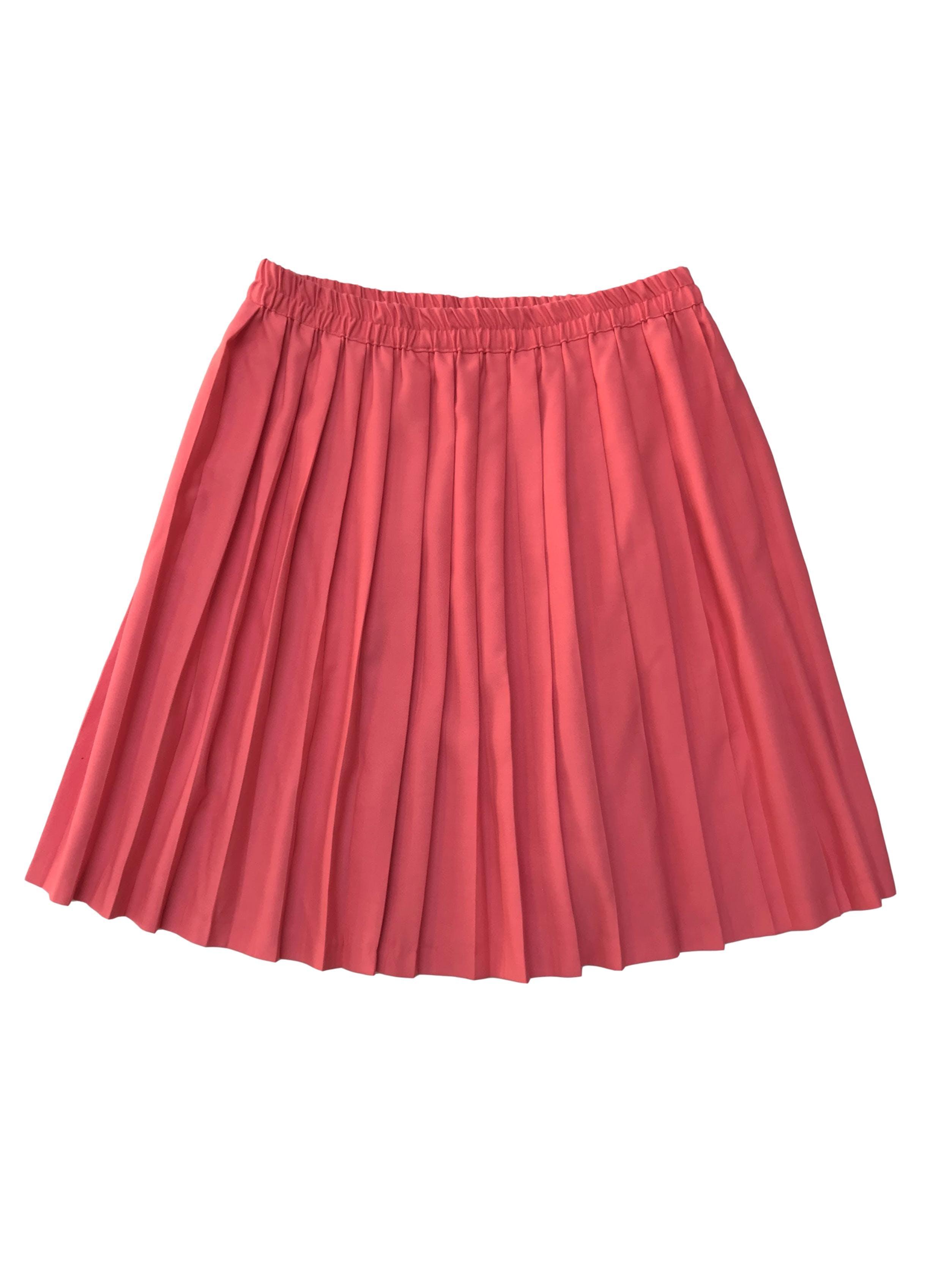 Falda vintage coral plisada de tela tipo drill. Cintura 70cm sin estirar Largo 50cm