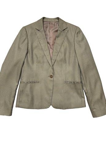 Blazer vintage beige con patrón de pata de gallo, es forrado, tiene bolsillos delanteros y un botón. Busto 100cm Largo 60cm foto 1
