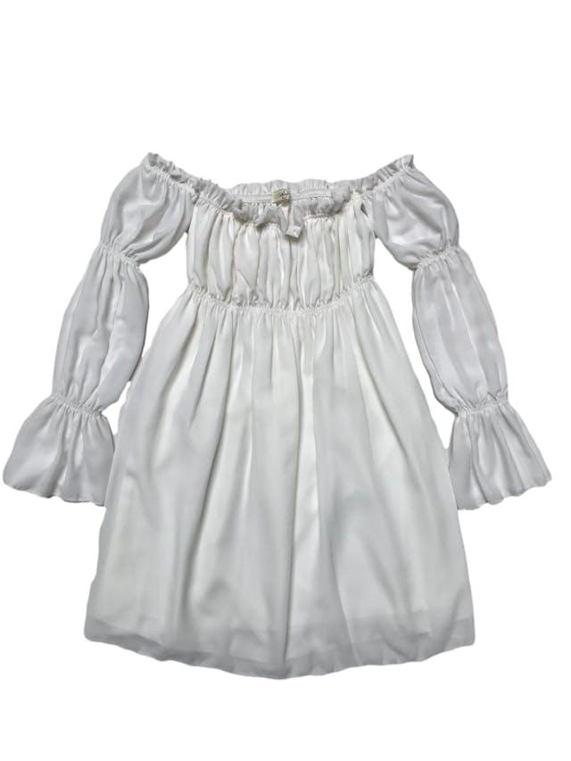 Vestido off shoulder de gasa crema, forrado, elástico en el pecho y mangas. Largo desde sisa 70cm foto 1