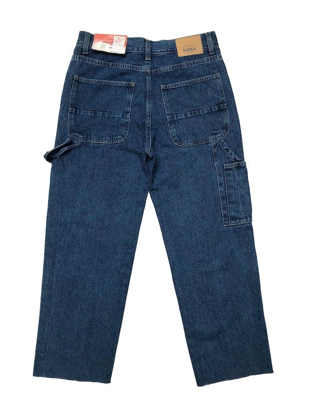 Pantalón jean grueso Index corte recto modelo carpenter, 100% algodón, a la cintura y basta desflecada. Cintura 78cm Cadera 98cm Largo 92cm. Nuevo con etiqueta, precio original S/ 129  foto 2