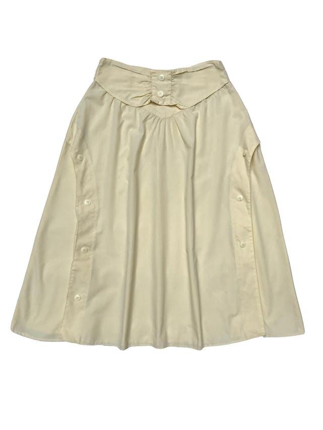 Falda vintage de tela tipo algodón camisa amarillo pastel, botones laterales a lo largo y cierre posterior. Cintura 76cm Largo 80cm foto 2